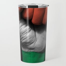 Hungarian Flag on a Raised Clenched Fist Travel Mug
