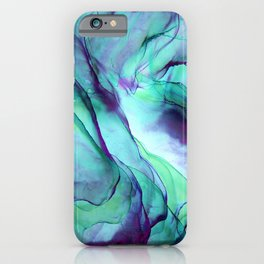 Violet Turquoise Flow - Alcohol Ink Painting iPhone Case