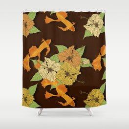 Night Time Goldfish Pond With Hibiscus Pattern Shower Curtain