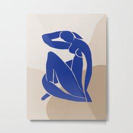 mATISSE BLUE WOMEN MINIMAL ART Metal Print