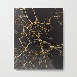 STOCKHOLM SWEDEN GOLD ON BLACK CITY MAP Metal Print