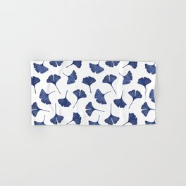 Blue Ginkgo Biloba Pattern Hand & Bath Towel