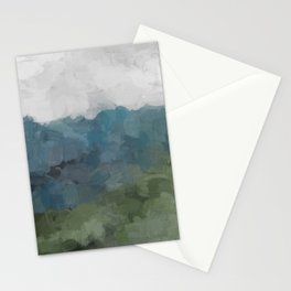 Gray Blue Navy Indigo Sage Leafy Green Sky Forest Abstract Painting, Modern Wall Art, Portrait Stationery Cards