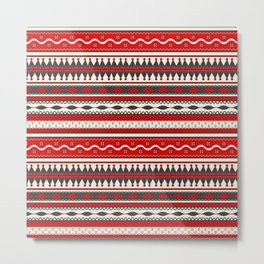 Traditional Romanian embroidery seamless pattern design Metal Print