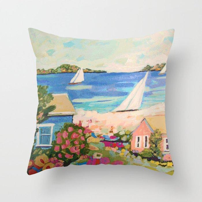 Pink Hibiscus by Karen Fields Throw Pillow