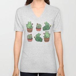 Cacti Cat pattern Unisex V-Neck