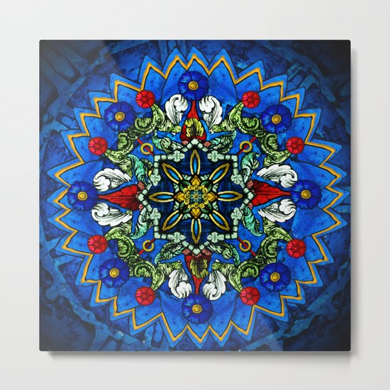 Lighted Rose Window Collage Metal Print