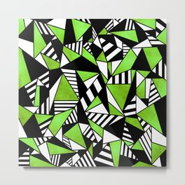 Geometric Green Metal Print