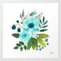 oana befort Art Prints featuring FLORA BLUES by Oana Befort