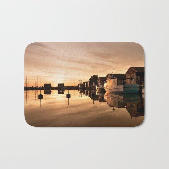 Beautiful Sunrise - harbour Beach Boat Ship Bath Mat