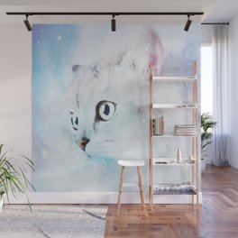 Fluffy starry cat Wall Mural