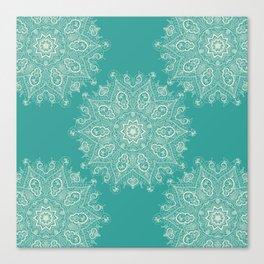 Teal and Lace Mandala Canvas Print