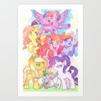 mlp Art Prints featuring MLP-Crystal Ponies by ©BONUS-LEVEL