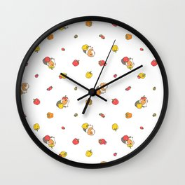 Bell Peppers and Guinea Pigs Pattern in White Background Wall Clock