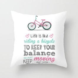 Bicycle Quote Throw Pillow