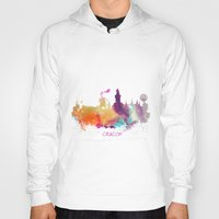 poland Hoodies featuring Cracow Poland skyline by jbjart
