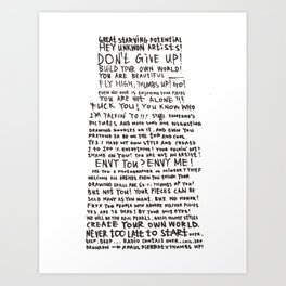 DRUNKEN PAUL PIERROT'S LETTER TO THE GREAT ARTISTS AND BAD ARTISTS. Art Print