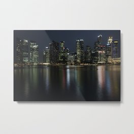 Singapore's sky line at dusk Metal Print