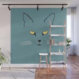 Cat with yellow eyes Wall Mural