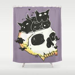 Skull Full Of Black Cat Kittens Shower Curtain