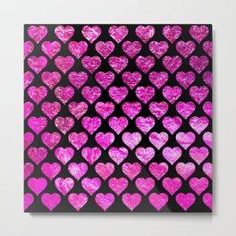 Pink Foil Hearts Metal Print