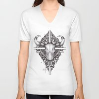buffalo V-neck T-shirts featuring buffalo by Sergey Mazur