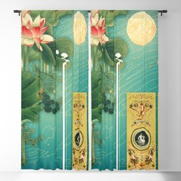 Chinese Lotus Full Moon Garden :: Fine Art Collage Blackout Curtain