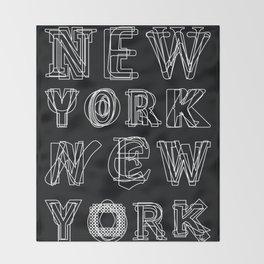 New York black and white Throw Blanket