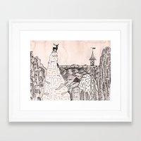 budapest hotel Framed Art Prints featuring grand budapest hotel by Greta Jur