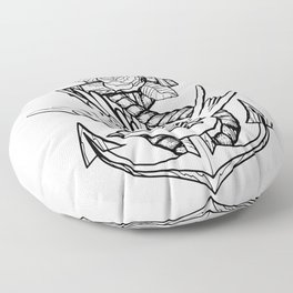 Anchor Swallow & Rose Old School Tattoo Style Floor Pillow
