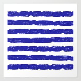 Hand-Drawn Stripes (Navy Blue & White Pattern) Art Print
