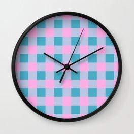 Pink and Teal Check Wall Clock