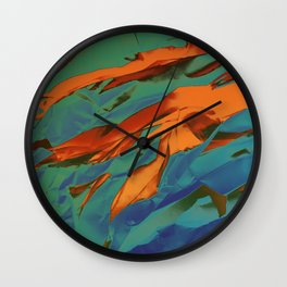 Green, Orange and Blue Abstract Wall Clock
