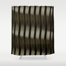 Spinning Columns - Gold - Futuristic Industrial Sci-Fi Pattern Shower Curtain