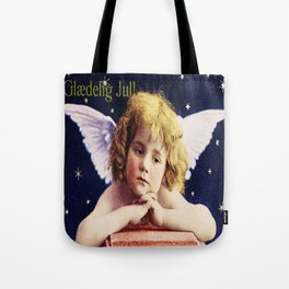 Vintage Christmas Angel 1924 Glaedig Jul Merry Christmas Cherub  Tote Bag