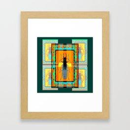 WESTERN TEAL TURQUOISE BEETLE ORANGE ART DESIGN Framed Art Print