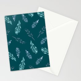 Pencil Feathers Pattern on Midnight Green Stationery Cards