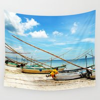 boats Wall Tapestries featuring boats by Baptiste Riethmann