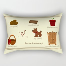 Colors: brown (Los colores: marrón) Rectangular Pillow