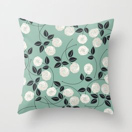 Pattern with white roses Throw Pillow