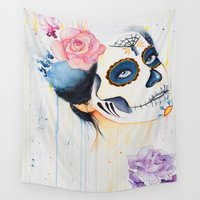 day of the dead Wall Tapestries featuring Day of the Dead by Beth Michele