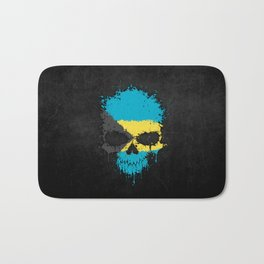 Flag of Bahamas on a Chaotic Splatter Skull Bath Mat