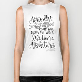 Lifetime of Adventures - Alice in Wonderland Quote Biker Tank