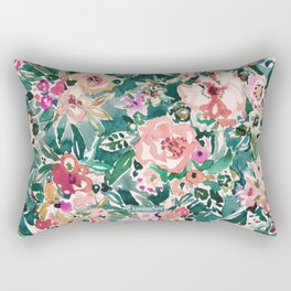 FLAGRANT AF Wild Green Colorful Floral Rectangular Pillow