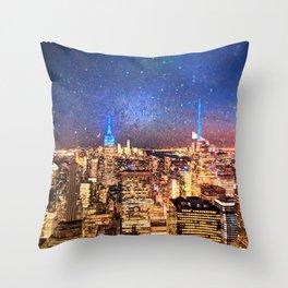Night Shine - New York Throw Pillow