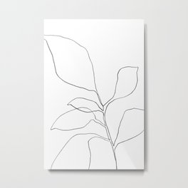 Six Leaf Plant - Minimalist Botanical Line Drawing Metal Print