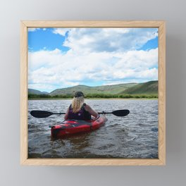 Watercolor People in Nature Woman Kayaker 02, All the World's a Stage Framed Mini Art Print