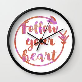 Follow Your Heart Motivational Typography Wall Clock