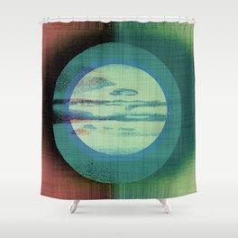 Midsummer Moon - Green Mid Century Modern Watercolor Shower Curtain