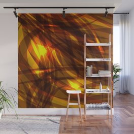 Saturated bronze and smooth sparkling lines of metal tapes on the theme of space and abstraction. Wall Mural
